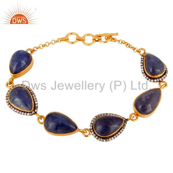 18k gold plated sterling silver natural tanzanite gemstone bracelet with cz