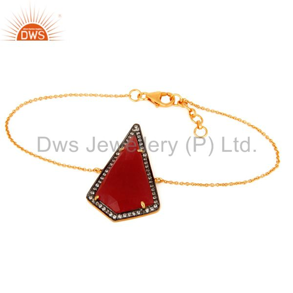 Red Aventurine Gemstone Bracelet With CZ In 22K Gold Over Sterling Silver