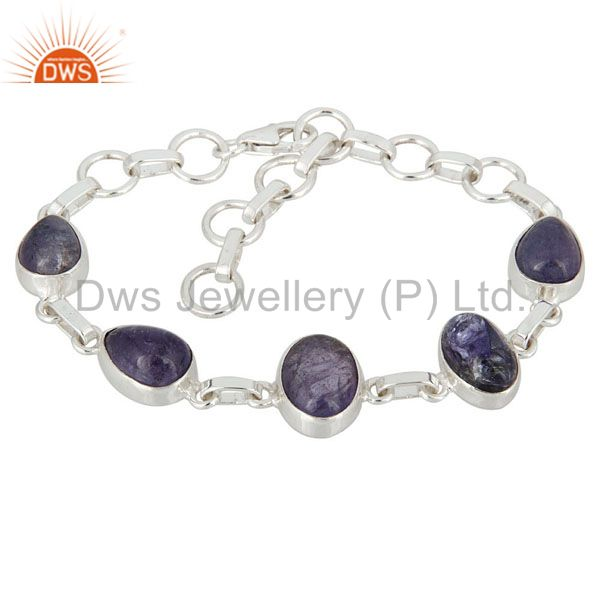 Natural Tanzanite Gemstone Solid Sterling Silver Handcrafted Bracelet