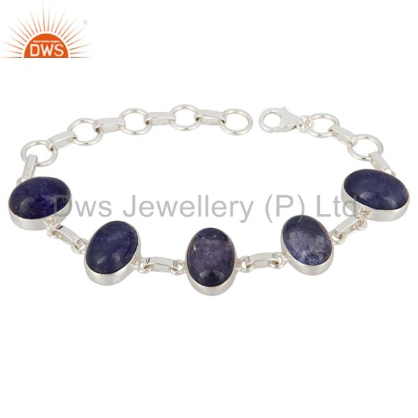 Natural Tanzanite Gemstone Sterling Silver Handmade Bracelet With Lobster Clasp