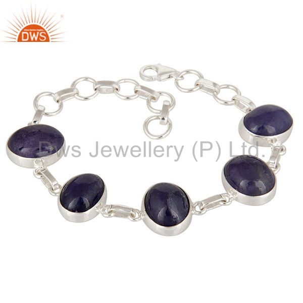 High Quality Tanzanite Gemstone Cabochon Fine Sterling Silver Bracelet