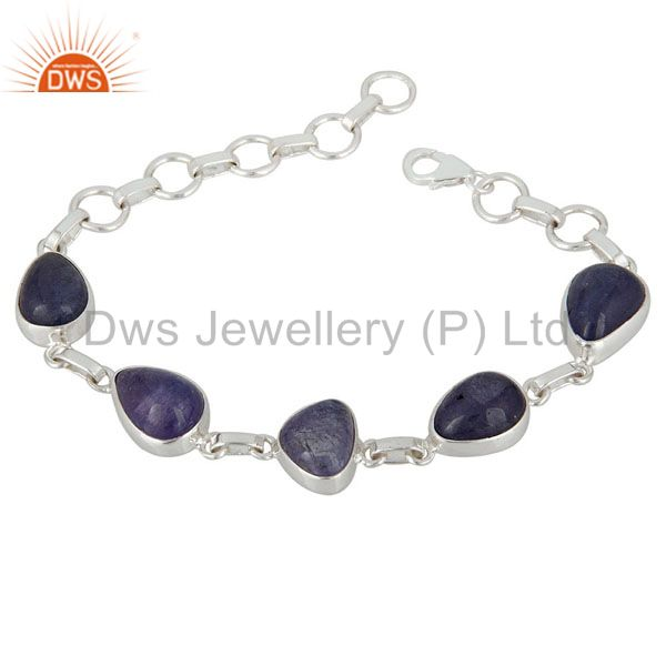 Genuine Cabochon Tanzanite Gemstone Sterling Silver Artisan Made Bracelet