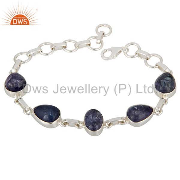 Natural Tanzanite Gemstone Genuine Sterling Silver Handmade Bracelet Jewelry
