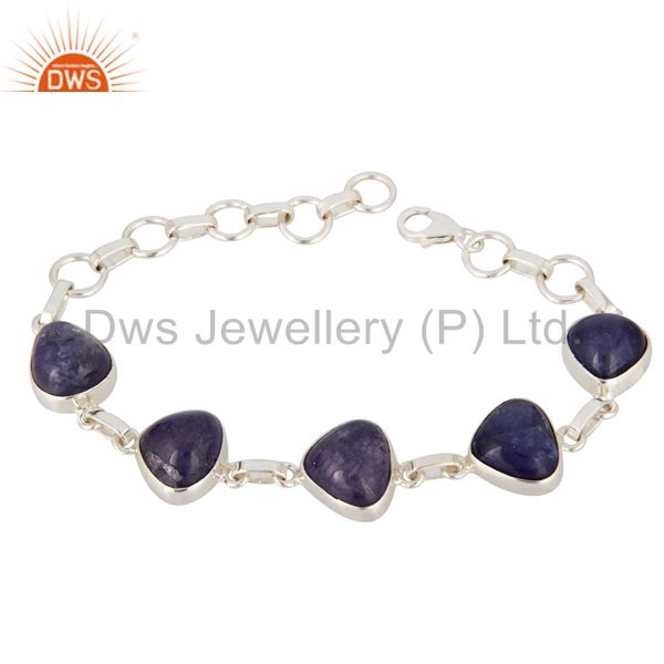 Fine Hand-Crafted Solid Sterling Silver Bracelet With Tanzanite Gemstone