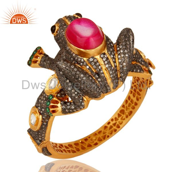 18K Gold On Sterling Silver Druzy Agate And CZ Polki Antique Look Frog Bangle