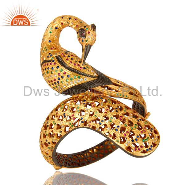 Designer 18k gold sterling silver multi color cz peacock bangle