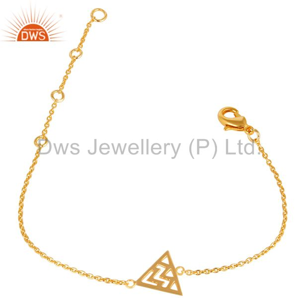 14K Yellow Gold Plated 925 Sterling Silver Art Deco Fashion Chain Bracelet