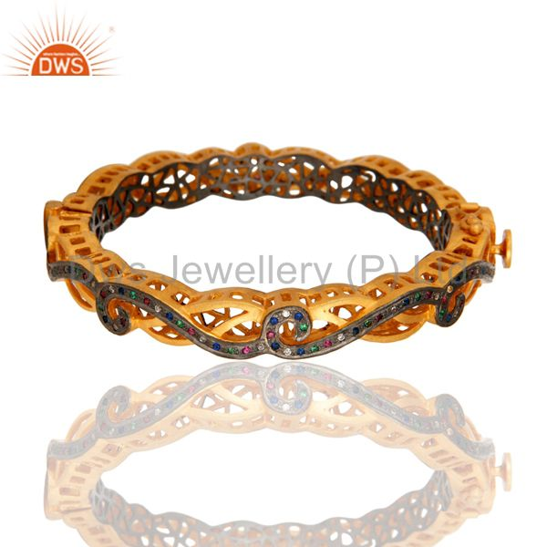 Multi Color Cubic Zirconia Sterling Silver Fashion Designer Bangle - Gold Plated