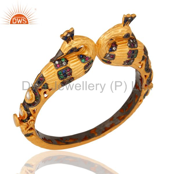 Peacock design crystal polki cz 14k gold 925 silver fashion bangle