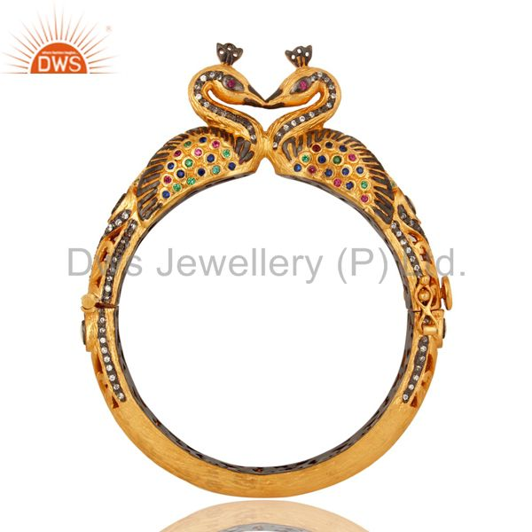 18k gold plated 925 silver mixed color cz double peacock bangle