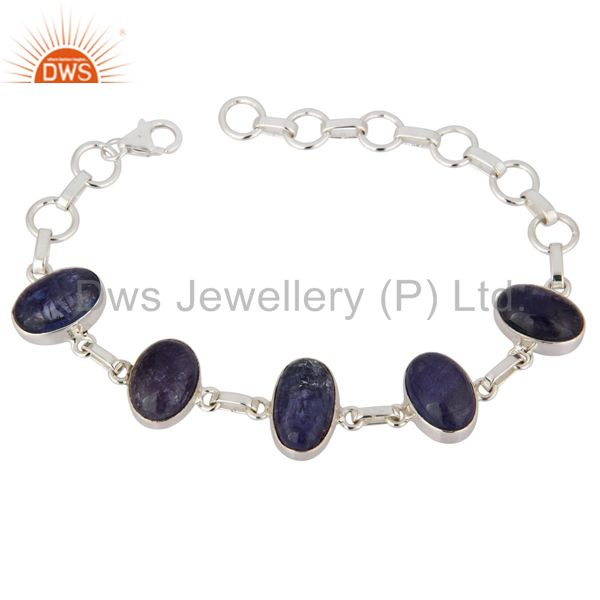 Genuine Tanzanite Gemstone Fine Bracelet In Solid Sterling Silver Jewelry