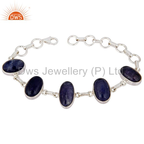 Solid 925 Sterling Silver Tanzanite Gemstone Bracelet