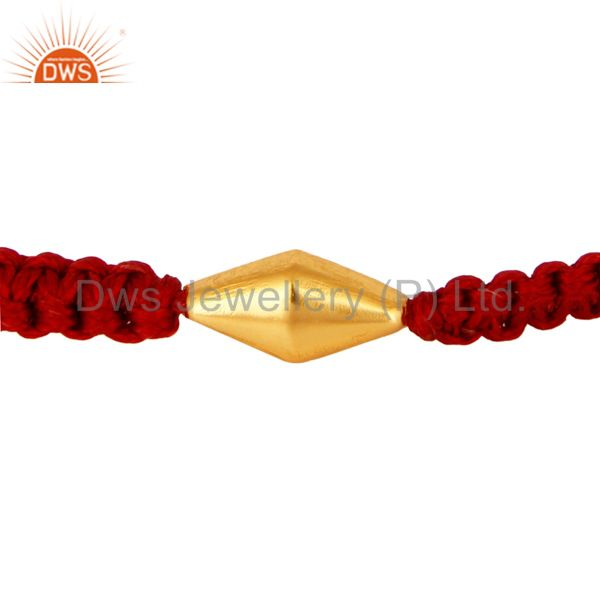 18K Solid Yellow Gold Handmade Red Macrame Fashion Bracelet Jewelry