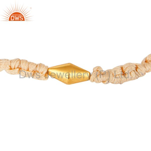 18k yellow gold bead unisex macrame bracelet with adjustable slip knot