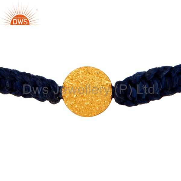 18-Carat Yellow Gold Handcrafted Blue Macrame Fashion Bracelet Jewelry