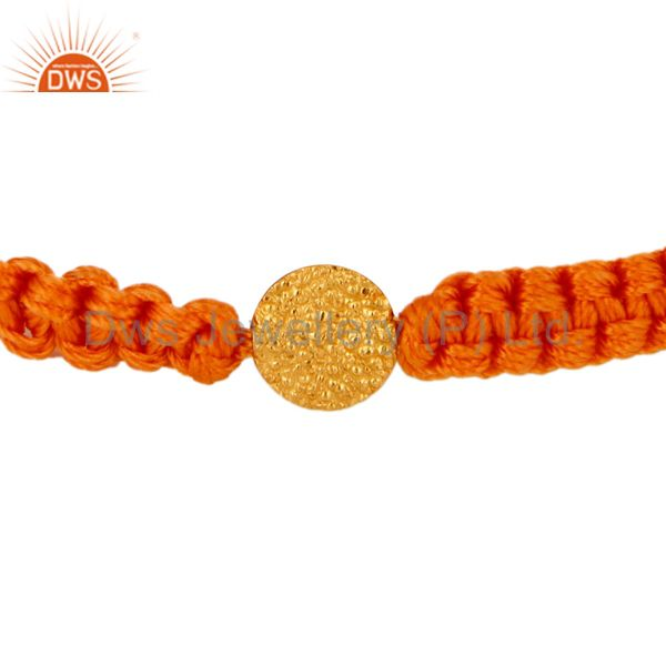 Womens Macrame Fashion Bracelet With 18K Yellow Gold Finding Jewelry