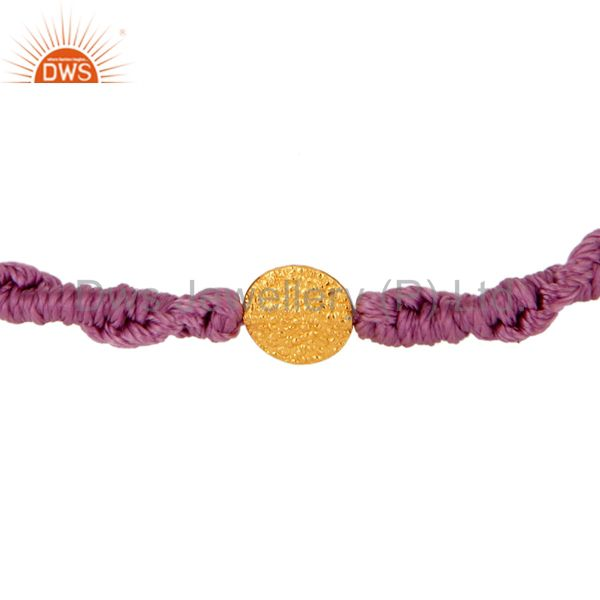 Purple Color Shamballa Macrame Bracelet Womens Jewelry With 18K Gold Bead