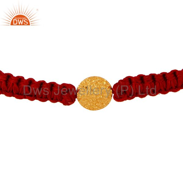 Solid 18K Yellow Gold Finding Charm Red Fashion Macrame Bracelet