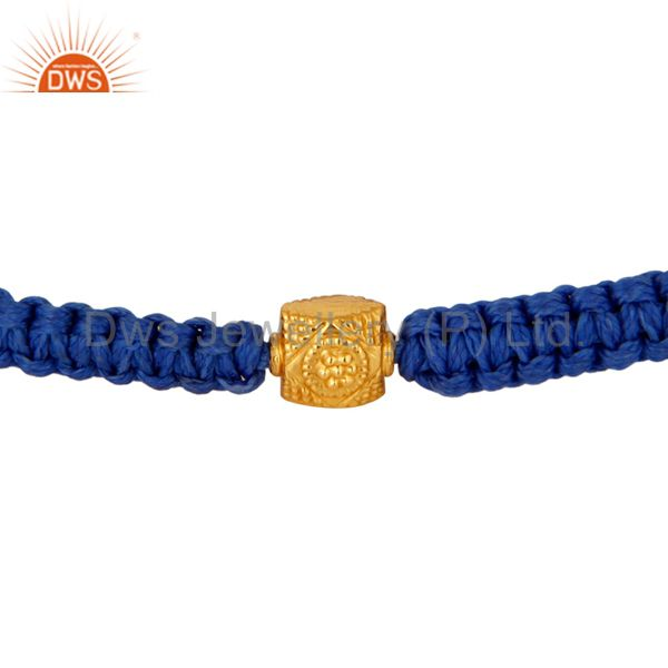 18-Carat Solid Yellow Gold Bead Blue Macrame Friends Gift Bracelet Jewelry