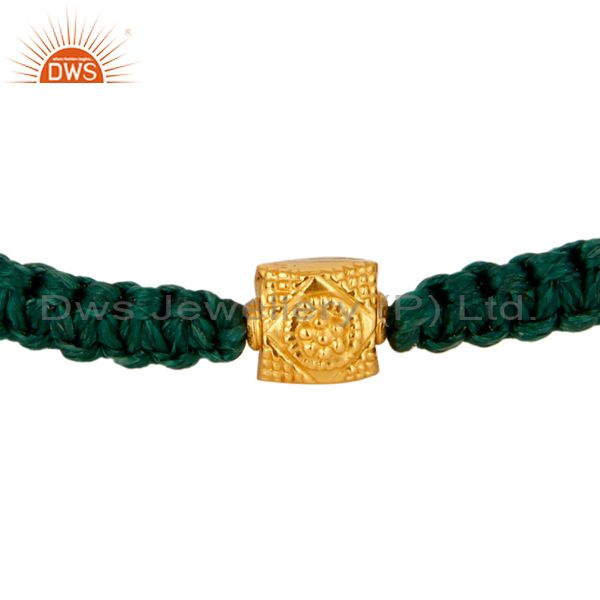 Solid 18K Yellow Gold Finding Green Thread Macrame Adjustable Unisex Bracelet