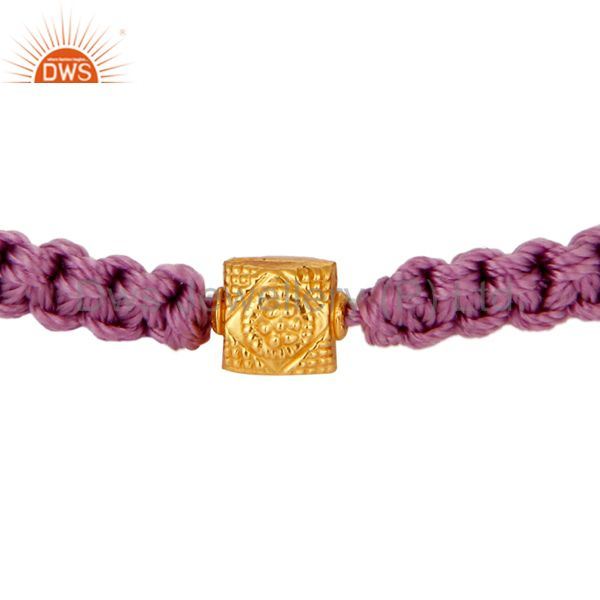 18K Yellow Gold Shamballa Macrame Bracelet Jewelry - Purple Color Thread