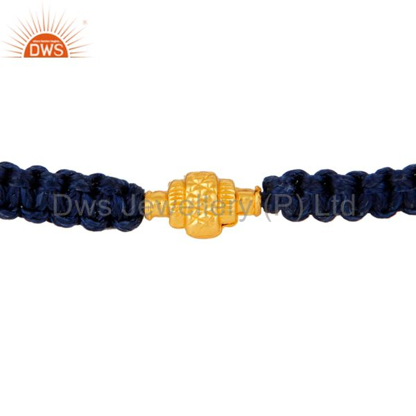 Solid 18K Yellow Gold Finding Blue Thread Macrame Adjustable Unisex Bracelet