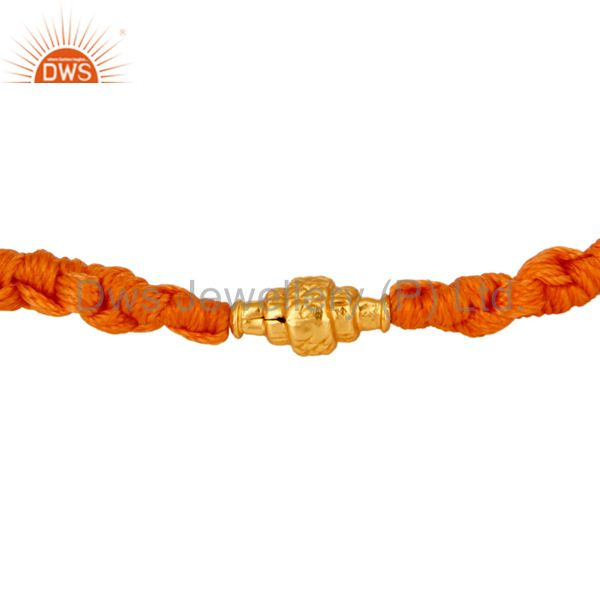 18k Solid Yellow Gold Charm Bead Fashion Wrist Band Macrame Bracelet