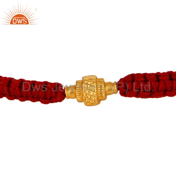 18K Solid Yellow Gold Bead Macrame Fashion Bracelet Jewelry