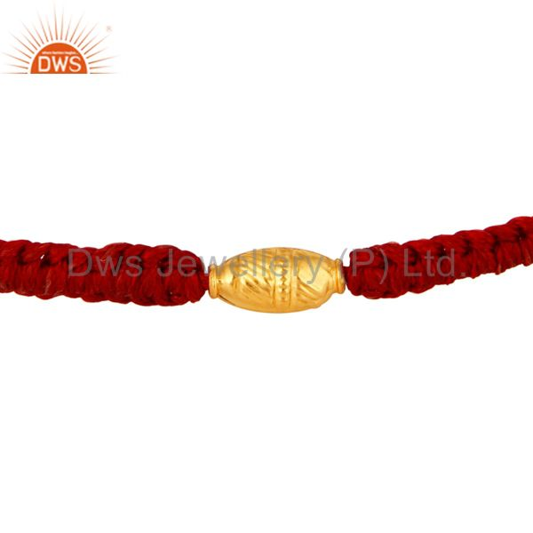 Solid 18k yellow gold finding macrame fashion bracelet jewelry
