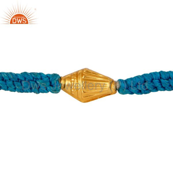 Artisan Handmade Macrame Friendship Bracelet With 18K Yellow Gold Beads