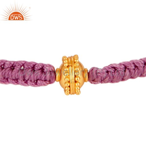 Designer 18K Yellow Gold Round Bead Macrame Adjustable Knotted Bracelet