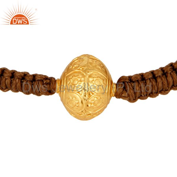 18k yellow gold hand engraved bead sliding knot macrame bracelet