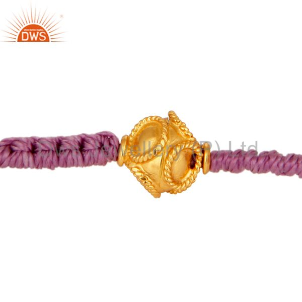 Mens & Womens Fashion Macrame Bracelet With Solid 18K Yellow Gold Bead Jewelry