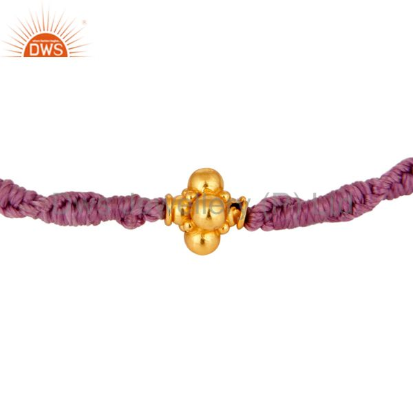 Genuine 18K Solid Yellow Gold Findings With Unisex Macrame Bracelet