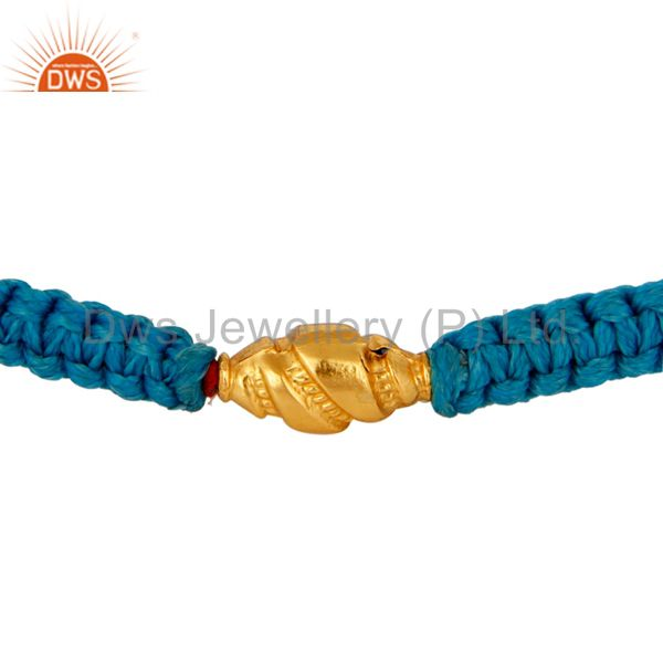 Sky Blue Thread Adjustable Macrame Bracelet With 18K Yellow Gold Bead
