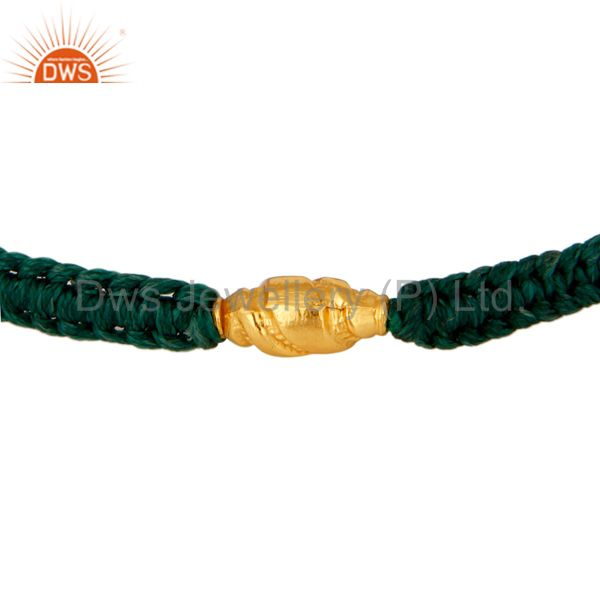 Handmade Green Thread Designer Adjustable Macrame Bracelet With 18K Gold Bead