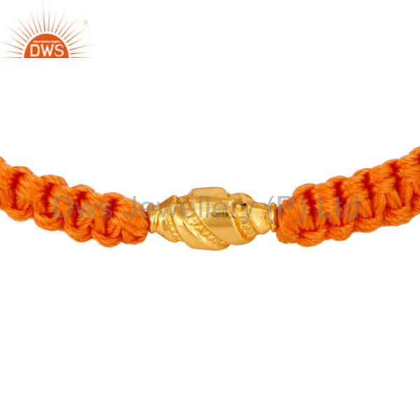 Genuine 18K Solid Yellow Gold Finding With Orange Color Macrame Bracelet