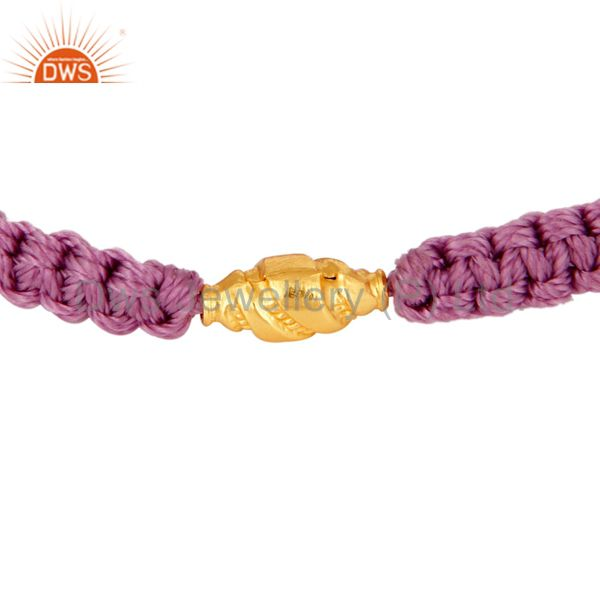 Handmade Friendship Shamballa Macrame Bracelet With 18K Yellow Gold Jewelry