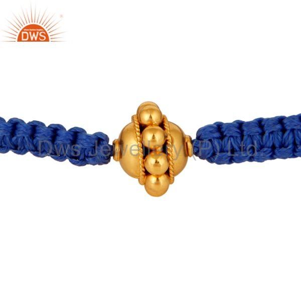 18K Solid Yellow Gold Round Bead Ball Macrame Fashion Bracelet Jewelry