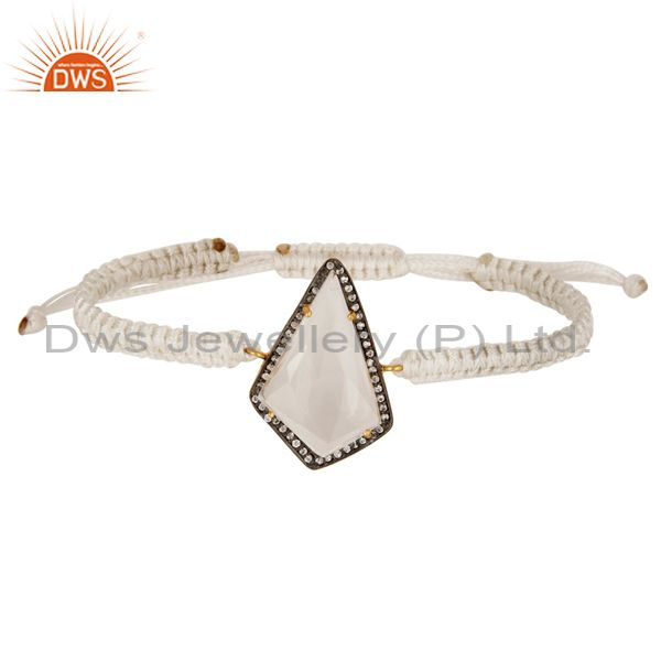 Crystal Quartz and Zircon 18K Gold Plated Sterling Silver Mecrame Bracelet