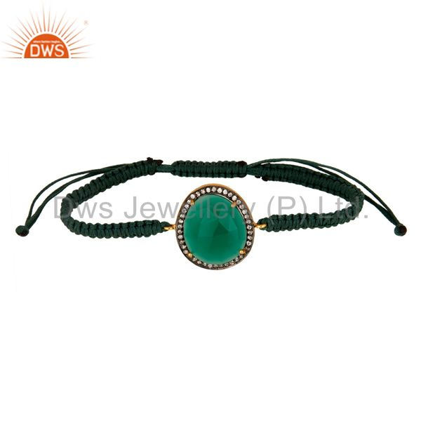 Faceted Green Onyx Gemstone And Cubic Zirconia Macrame Bracelet Jewelry