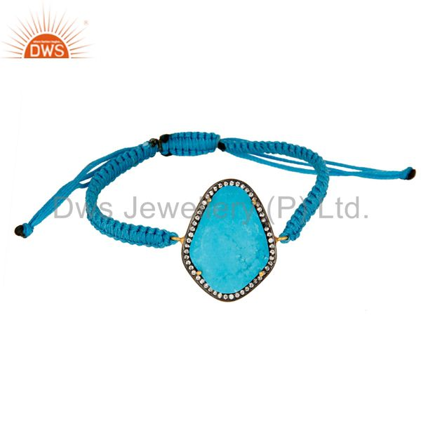 18K Gold Over Silver Turquoise Bezel Connectors Macrame Bracelet With CZ