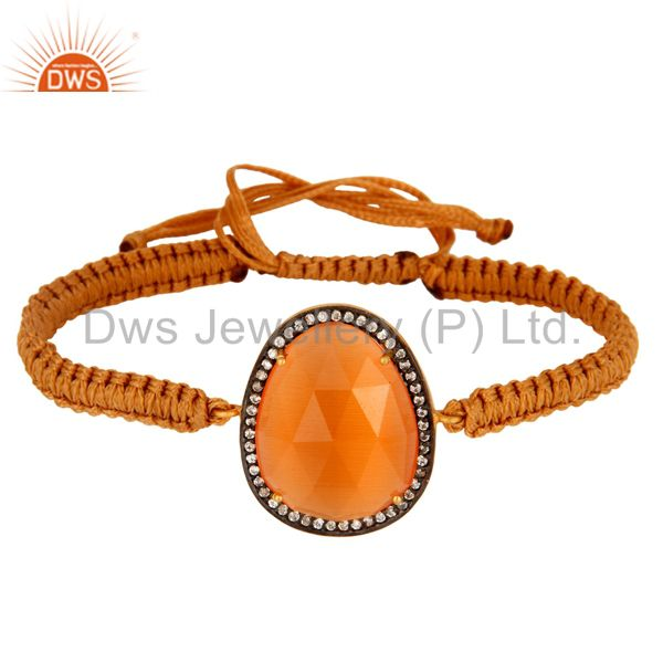 Prong Set Peach Moonstone Macrame Friendship Unisex Bracelet With CZ