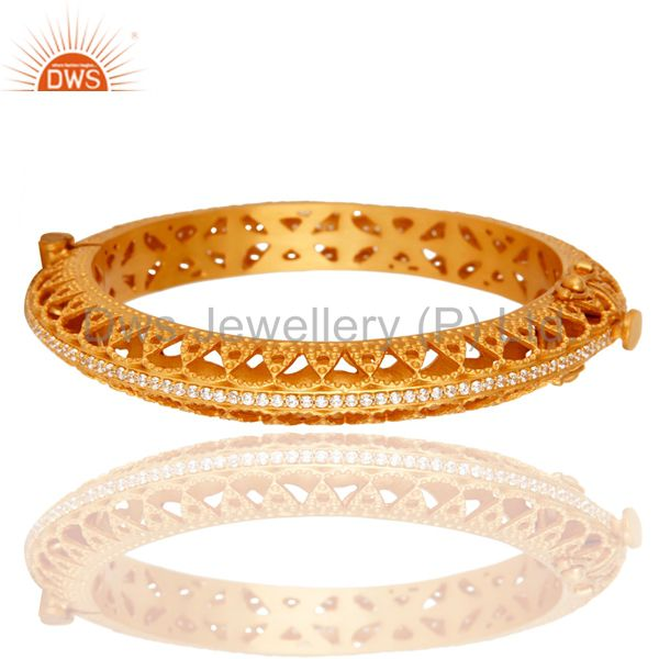 18K Yellow Gold Plated 925 Sterling Silver Openable Bangle With Cubic Zirconia