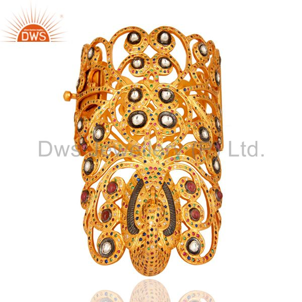 Multi coloured cz peacock design unique silver bangle gold plated