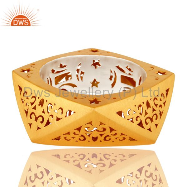 22k yellow gold plated 925 silver unique filigree designer bangle