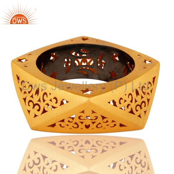 22k yellow gold plated sterling silver filigree designer bangle
