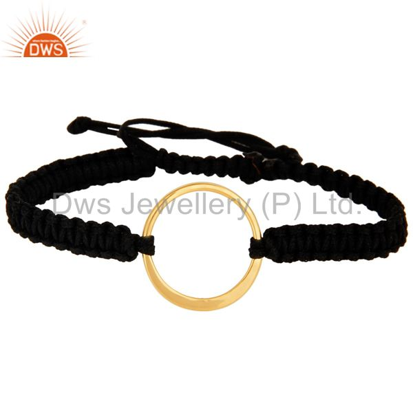 Yellow Gold Plated Sterling Silver Circle on Black Cord Macrame Bracelet