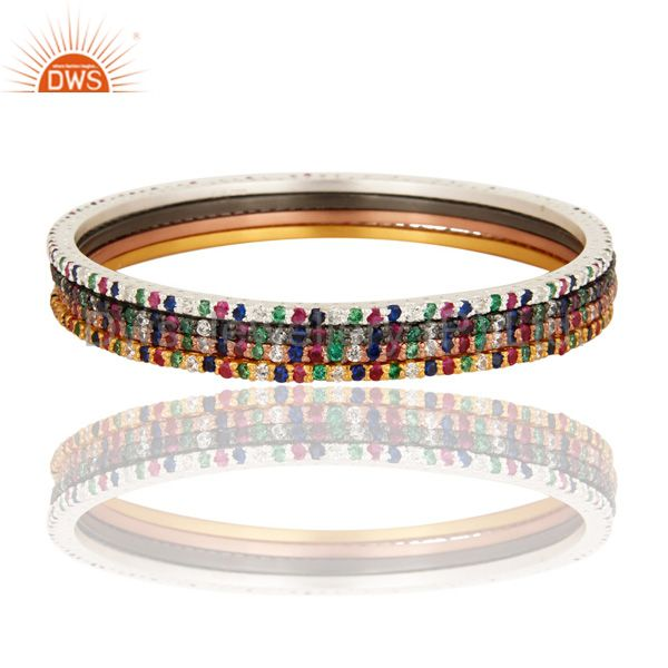 18k gold 925 silver multi color cubic zirconia accent sleek bangle