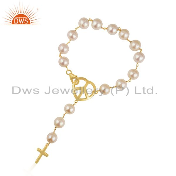 18K Gold Plated Sterling Silver Natural Pearl Beads Peace Sign Charm Bracelet